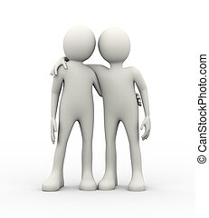 3d concept of partnership and friendship