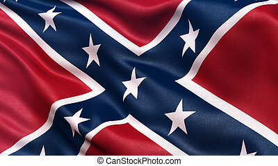 Confederate Battle Flag or St Andrews Cross waving in the...