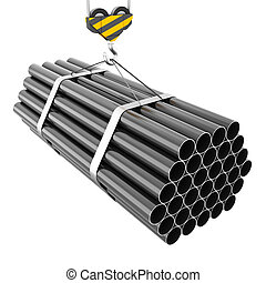 Crane hook lifting of steel pipes close-up isolated on white...