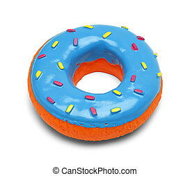 Toy Donut - Squeaky Blue Donut with Sprinkles Isolated on...
