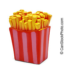 Toy French Fries - Rubber Squeaky Toy French Fries Isolated...