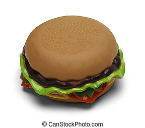 Toy Hamburger - Rubber Squeaky Burger Isolated on White...