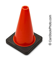 Traffic Cone - Single Ornage road Cone Isolated on White...