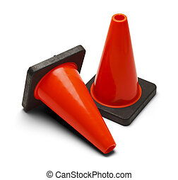 Traffic Cones - Orange Road Caution Cones Isolated on White...