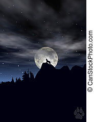 wolf in moonlight - Silhoutte of wolf howling in moonlight