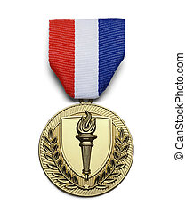USA Torch Medal - Gold USA Torch Medal Isolated on White...