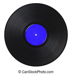 Vinyl Record Blue - Black Music Record With Blue Label...