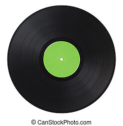 Vinyl Record Green - Black Music Record With Green Label...