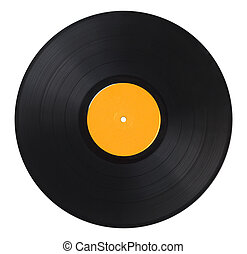 Vinyl Record Yellow - Black Music Record With Yellow Label...