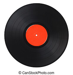 Vinyl Record - Black Music Record With Red Label Isolated on...