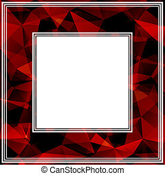 red border - Bright abstract border with red polygonal...
