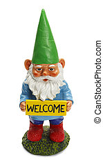 Welcome Gnome - Garden Gnome Holding Welcome Sign Isolated...