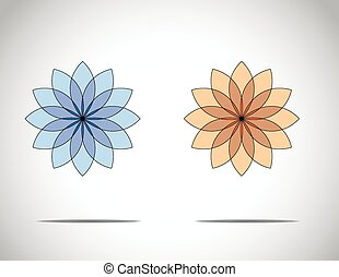 unique beautiful blue & red flowers with bright white background