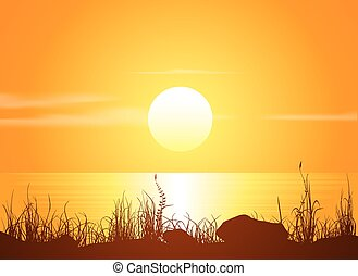 Landscape with sunset at the seashore. Grass silhouette over...
