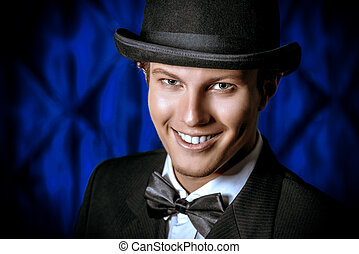 gentleman smiles - Portrait of a handsome old-fashioned...