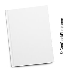 White Book Cover - White Hardback Book with Copy Space...