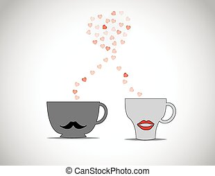 two coffee cups with black mustache & red lips with red flying