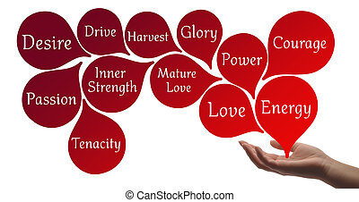 Colour Therapy - Red healing energy - Healing hand with red...