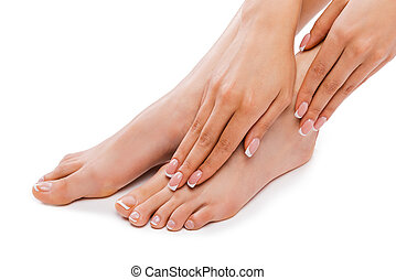 Perfect feet. Cropped picture of a beautiful young woman...