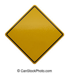 Yellow Caution Sign - Blank Sign with Copyspace Isolated on...