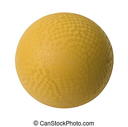 Yellow Dodge Ball - Yellow Rubber Ball Isolated on White...