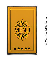 Yellow Menu - Yellow Generic Restaurant Menu with Five Stars...