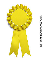 Yellow Ribbon - Large Yellow Award Ribbon With Copy Space...