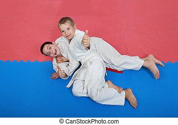 meninos, treinamento, recepção, após,...