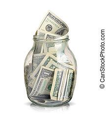 dollari, effetti, vaso