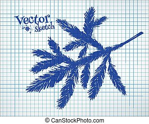 Fir tree branch. - Fir tree branch drawn on checkered paper....