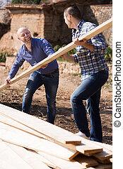 över, bärande, Byggare, två, plan