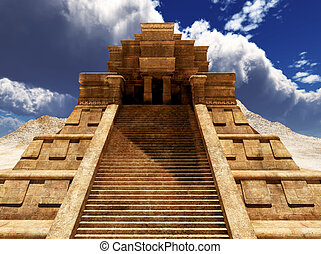 Sairs of Mayan temple - the stairs of Mayan temple