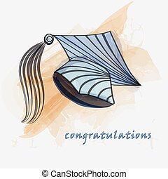 Mortar board in water color - Mortar board in water color...