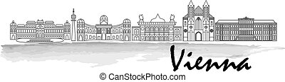 Vienna black silhouette city skyline vector icon in...