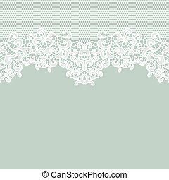Vintage lace invitation card - White vector lace on texture,...