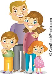 Happy family, vector illustration - Portrait of four member...
