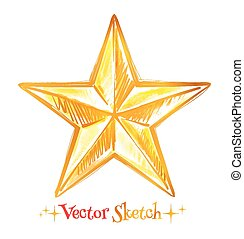 Golden star.  - Hand drawn watercolor golden star.