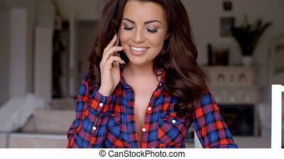 Sexy Woman in Checkered Shirt Calling on Phone