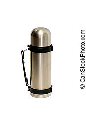 thermos - Metal thermos isolated on a white background...