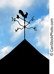 weather vane - silhouette of a weather vane showing wind...