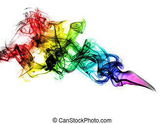 Beautiful coloured smoke over white