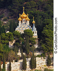 Golden domes of St Mary Magdalene - Mount of Olives in...
