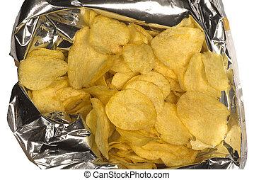 potato chips in an open bag