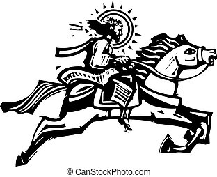 Christ on a Jumping Horse - Woodcut Style image of Jesus...