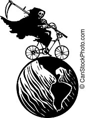 Death Bicycle and Earth - Woodcut styled image of a hooded...