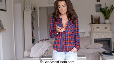 Attractive woman chatting on her mobile - Attractive relaxed...