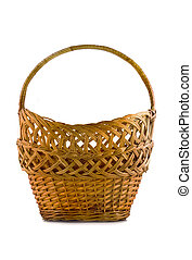 Beautiful woven basket for food isolated over white...