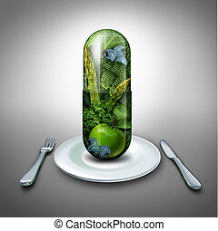 Food Supplement - Food supplement concept as a giant pill or...