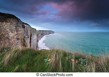 sunrise over coast cliffs, Normandy, France