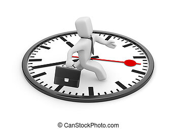 Businessman running in the big clock - Business concept...